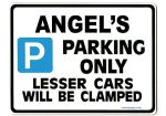ANGEL'S Personalised Parking Sign Gift | Unique Car Present for Her |  Size Large - Metal faced
